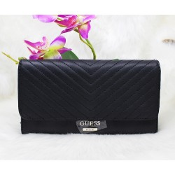 Guess Lenora Quilted Slim Women Wallet Black