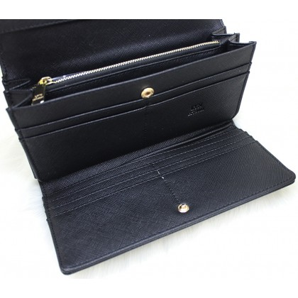 LYN Women Flap Wallet Organizer Black