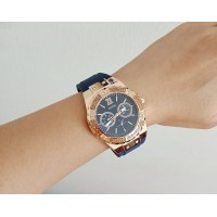 Guess U1053L1 Women Sparkling Rose Gold Blue Watch