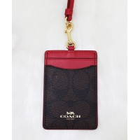 Coach F63274 Signature Lanyard ID Card Case Dark Brown/ True Red