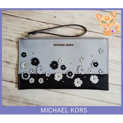 Michael Kors Jet Set Large Wristlet Floral Blue Multi