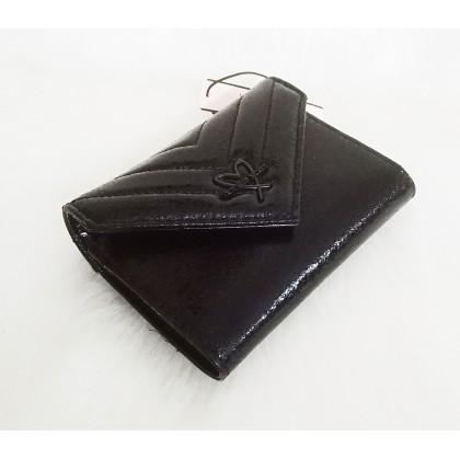 Victoria's Secret V-Quilt Metallic Crackle Medium Black Wallet
