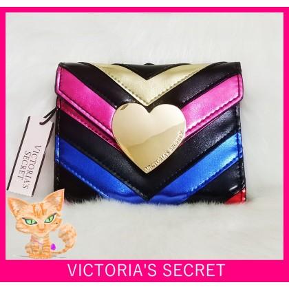 Victoria's Secret V-Quilt Rainbow Night Out Stripe Medium Wallet