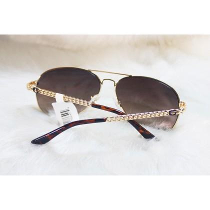 Guess Aviator Metal Chain-Link Black Sunglasses GF6034