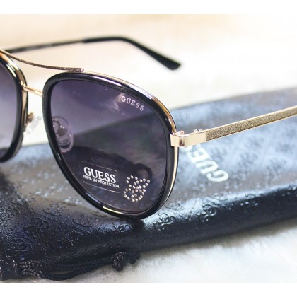 Guess Glitter Rhinestones Aviator Black Sunglasses GF6052