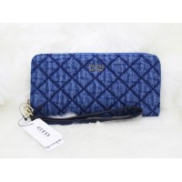 Guess Victoria Quilted Denim Zip Around Blue Wallet Wristlet