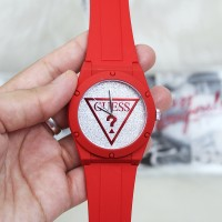 Guess U0979L24 Iconic Glitter Sport Silicone Watch Red
