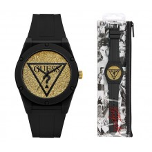 Guess U0979L23 Iconic Glitter Sport Silicone Watch Black/Gold