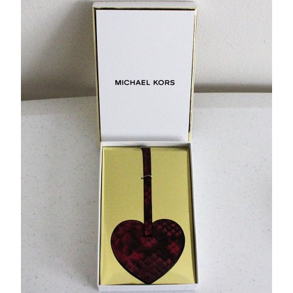 Michael Kors Heart Leather Bag Charm Fuchsia
