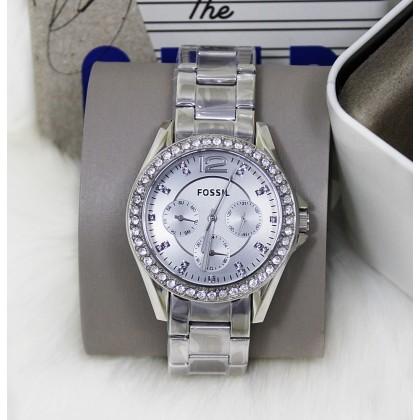 Fossil ES3202 Riley Diamond Multifunction Women Watch Silver