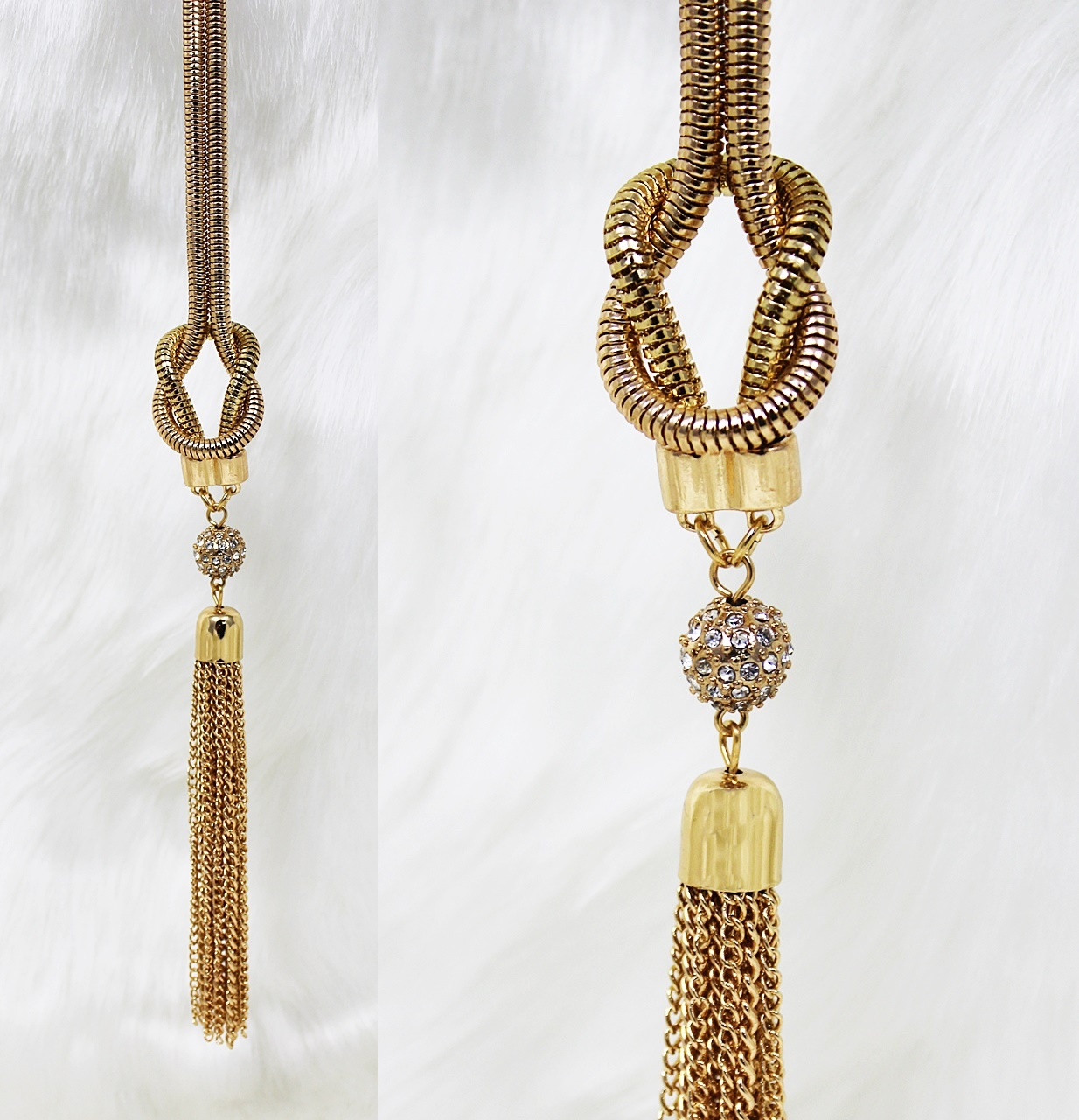 Guess Snake-Chain Tassel Necklace Gold