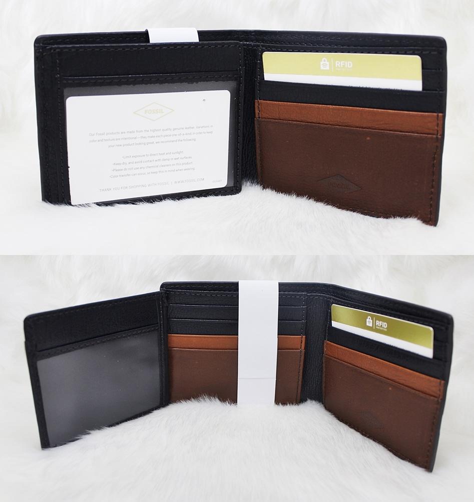 Fossil Easton RFID Traveler Men Wallet Black Multi