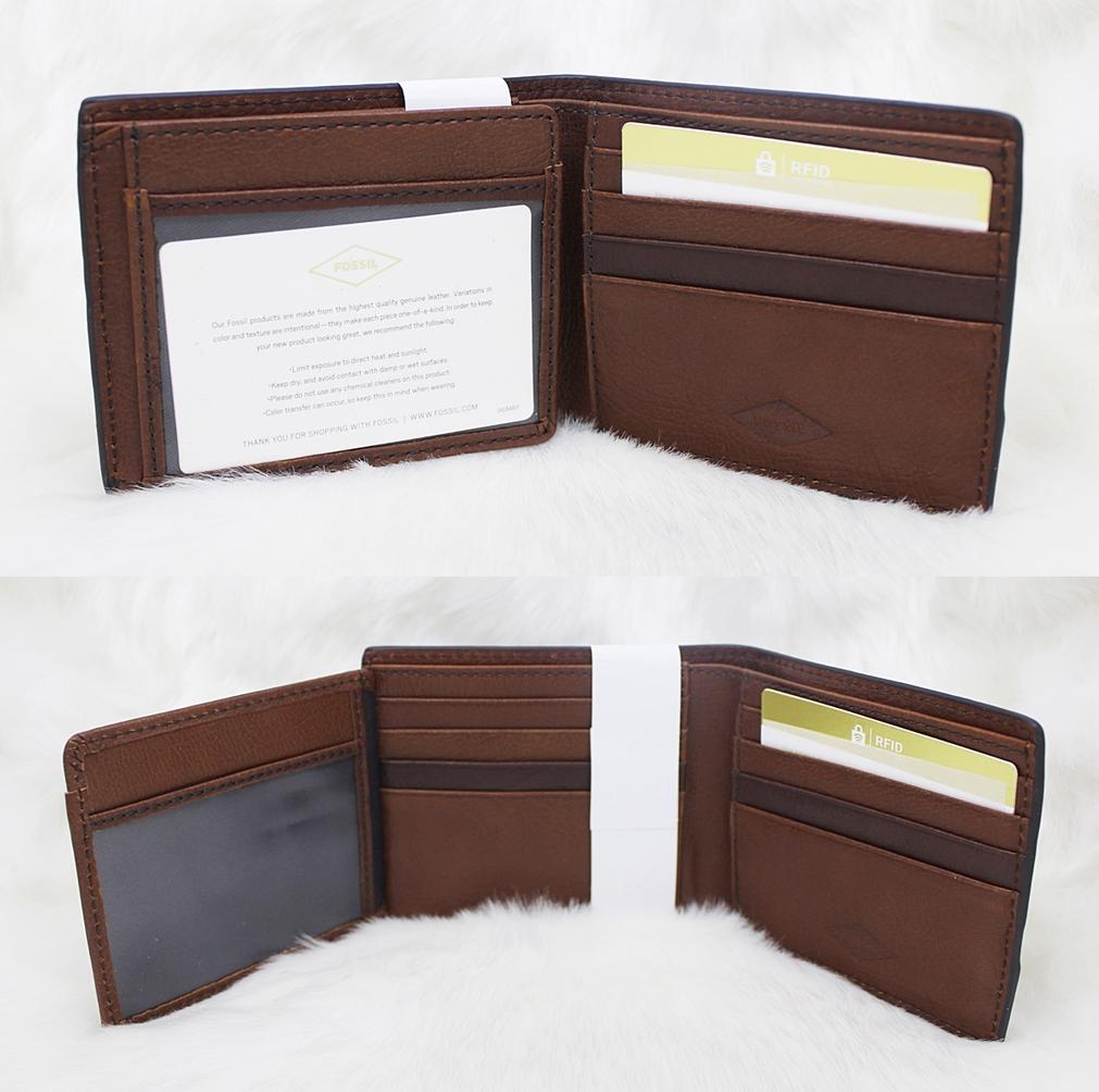 Fossil Easton RFID Flip Men Wallet Brown Multi