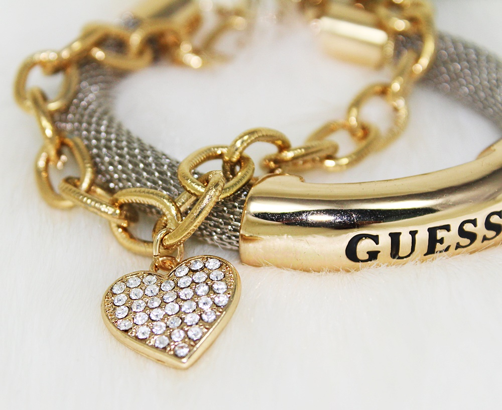 Guess Mesh ID Bracelet Set 2pc Silver/Gold