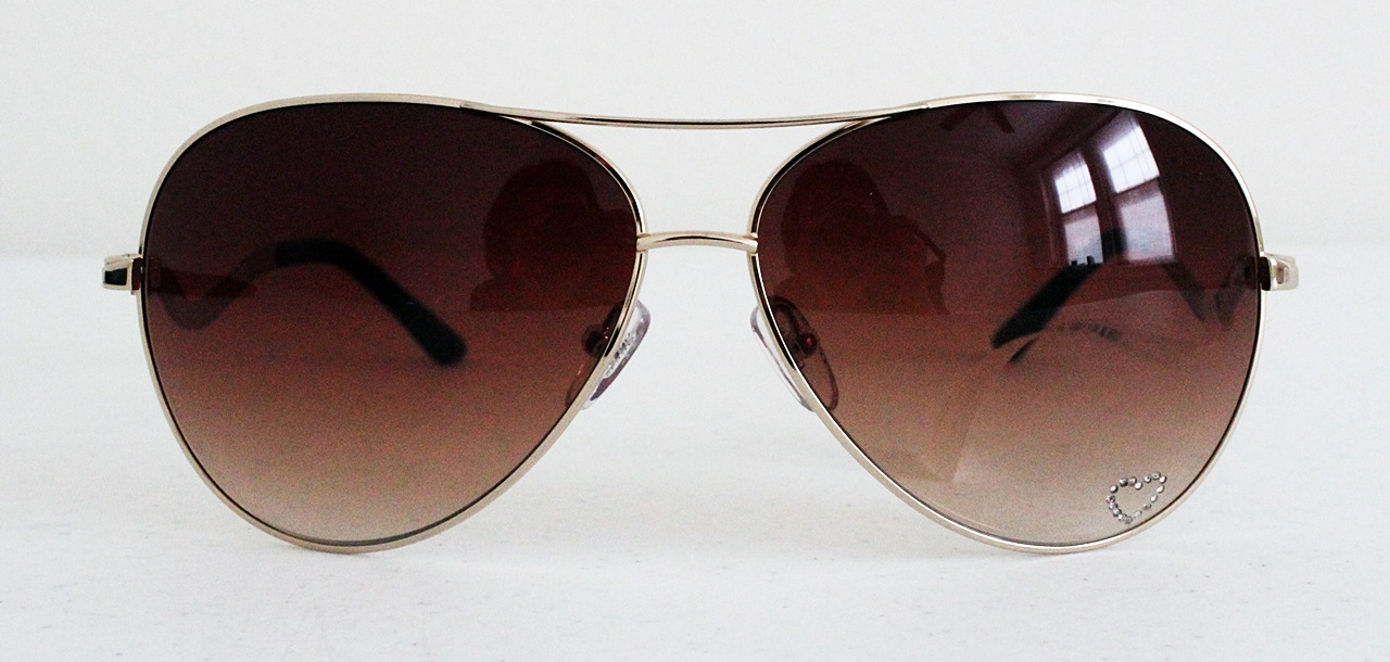 Guess Aviator Rhinestones Heart Brown Sunglasses