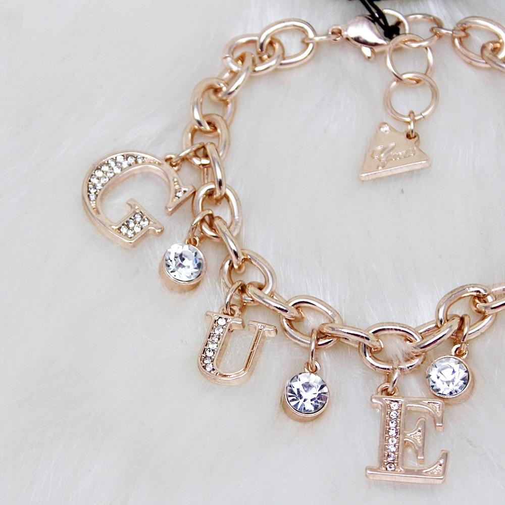 Guess Logo Letter Charm Bracelet Rose Gold