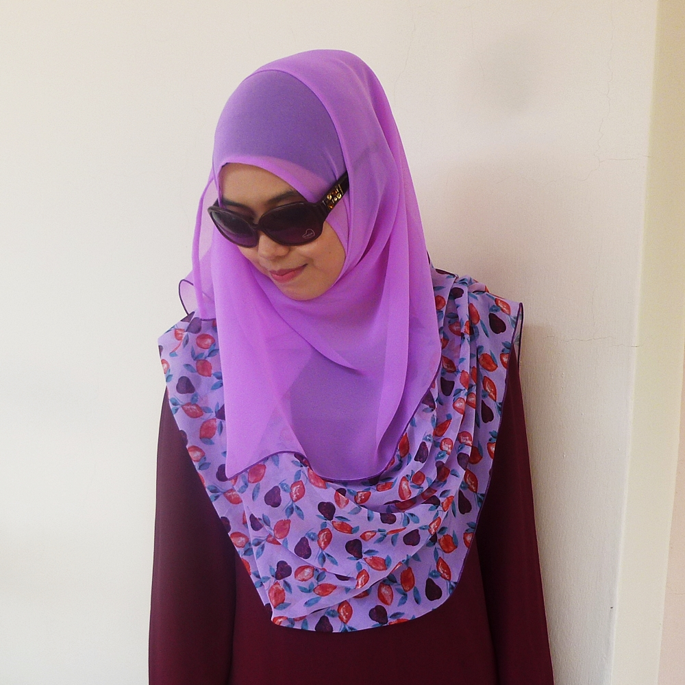 Deyla Instant Shawl Lavender with Flower Print