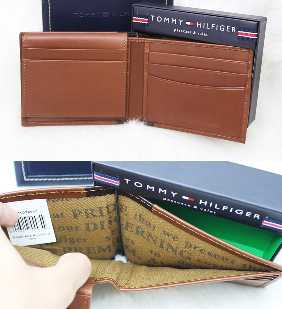 Tommy Hilfiger Melton Flip Men Wallet Tan Multi