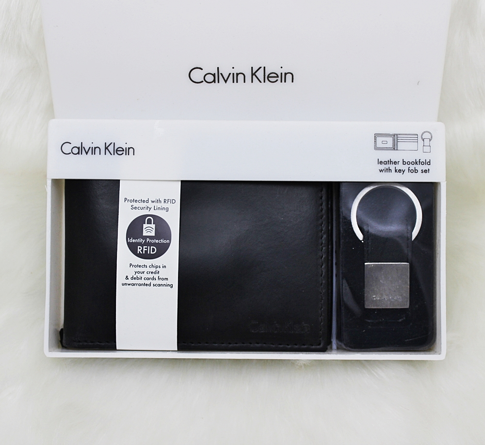 Calvin Klein Men RFID Bookfold Keyfob Wallet Set Black