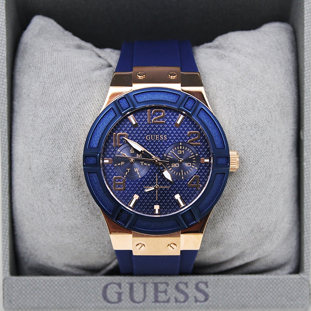 Guess U0571L1 Iconic Sporty Multifunction Watch Blue/Rose Gold