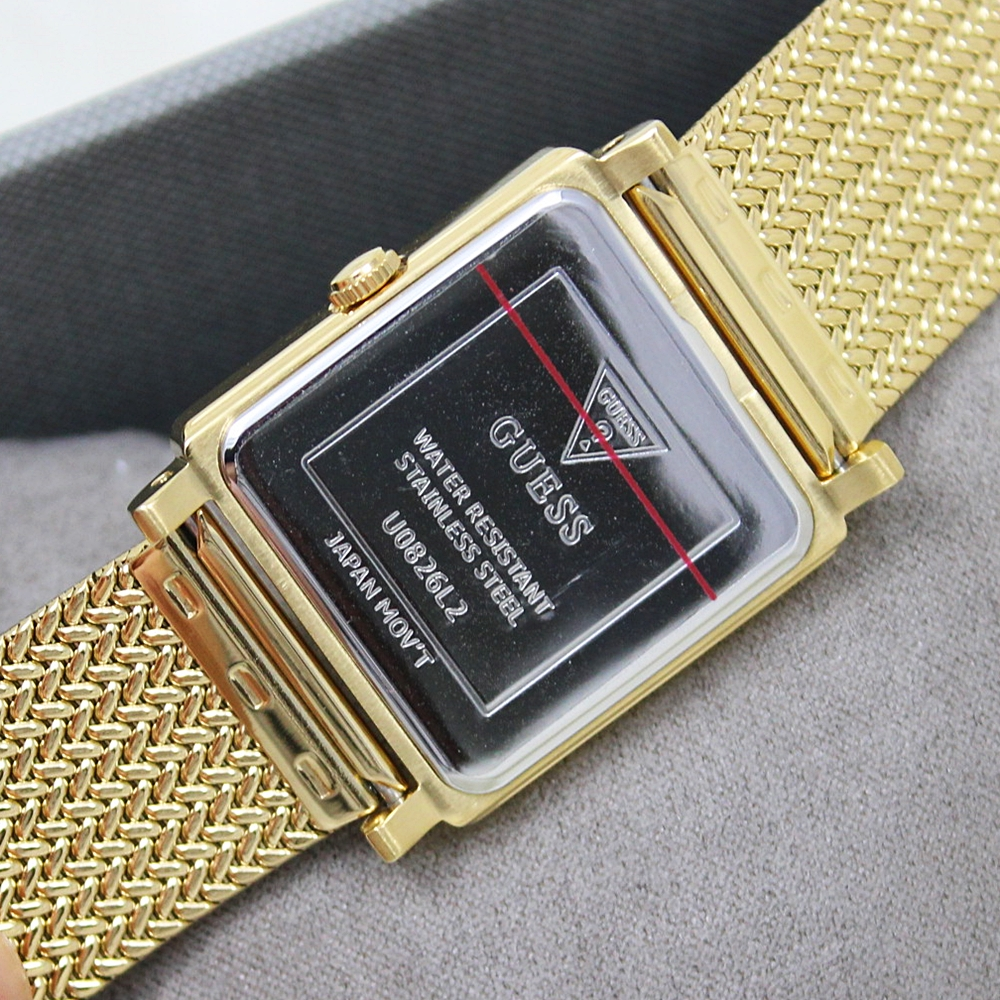 Guess U0826L2 Dressy Square Mesh Strap Watch Gold