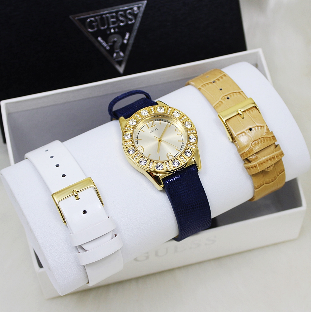 Guess U95137L2 Interchangeable Leather Gold Watch Set