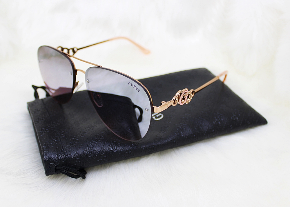 Guess Chain Rimless Aviator Sunglasses Brown/Rose Gold