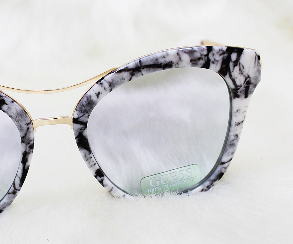Guess Cat Eye Mirrored Marble Black Sunglasses