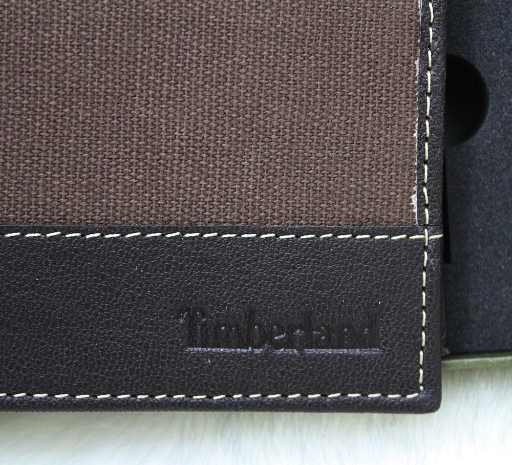 Timberland Canvas Leather Men Wallet Set Dark Brown