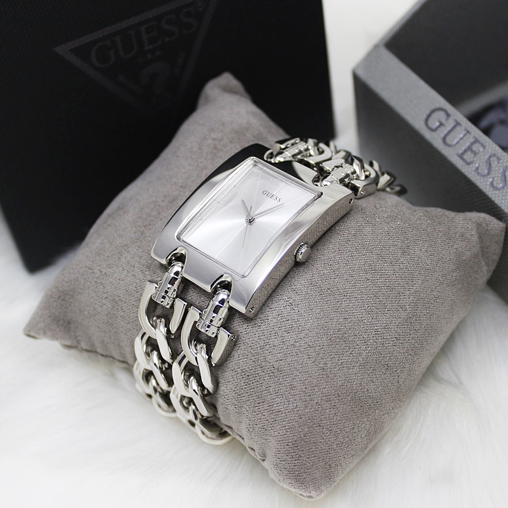 Guess G75916L Women Rectangle Double Chain Watch Silver