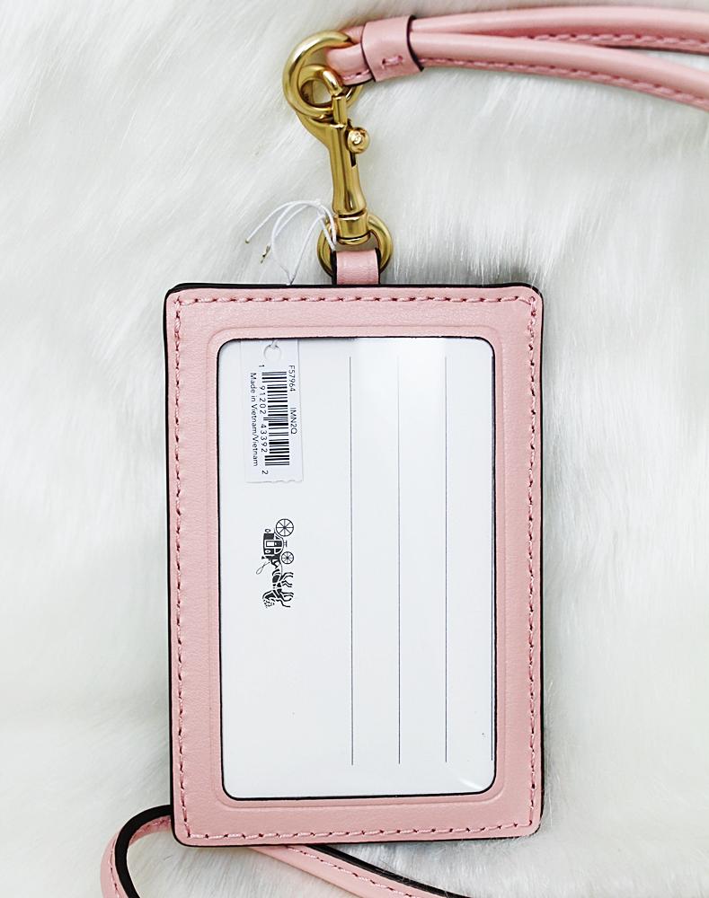 Coach F57964 Colorblock Lanyard ID Case Dark Brown/Pink Multi