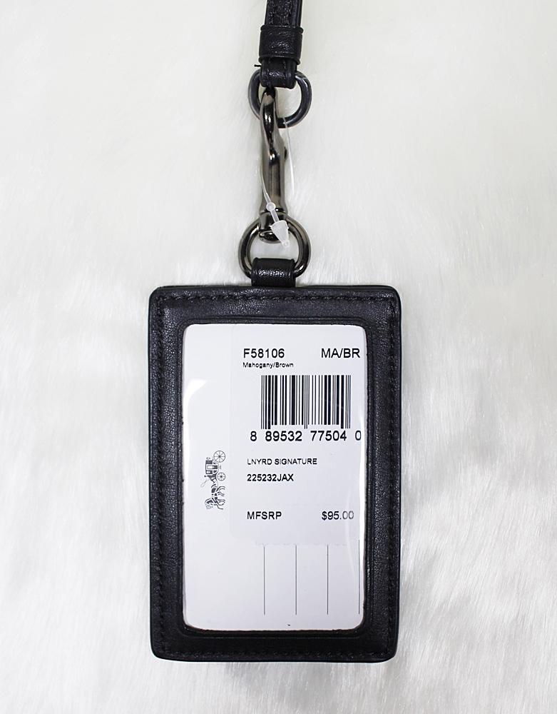 Coach F58106 Signature ID Lanyard Case Mahogany/Brown