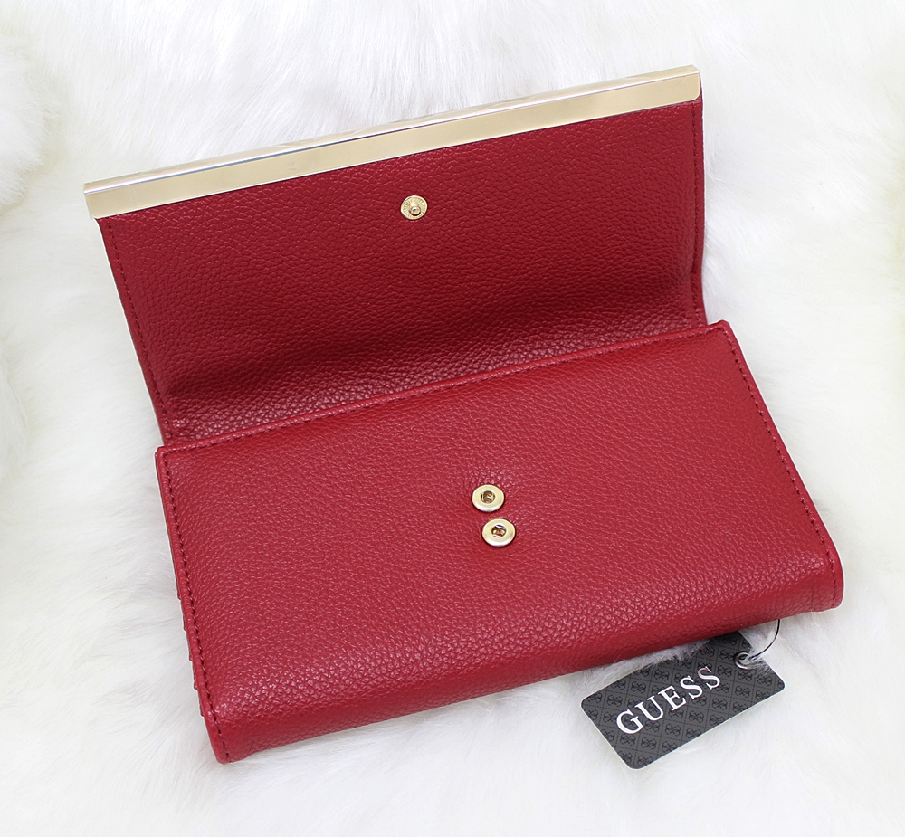 Guess Angelina Metal Organizer Women Wallet Red