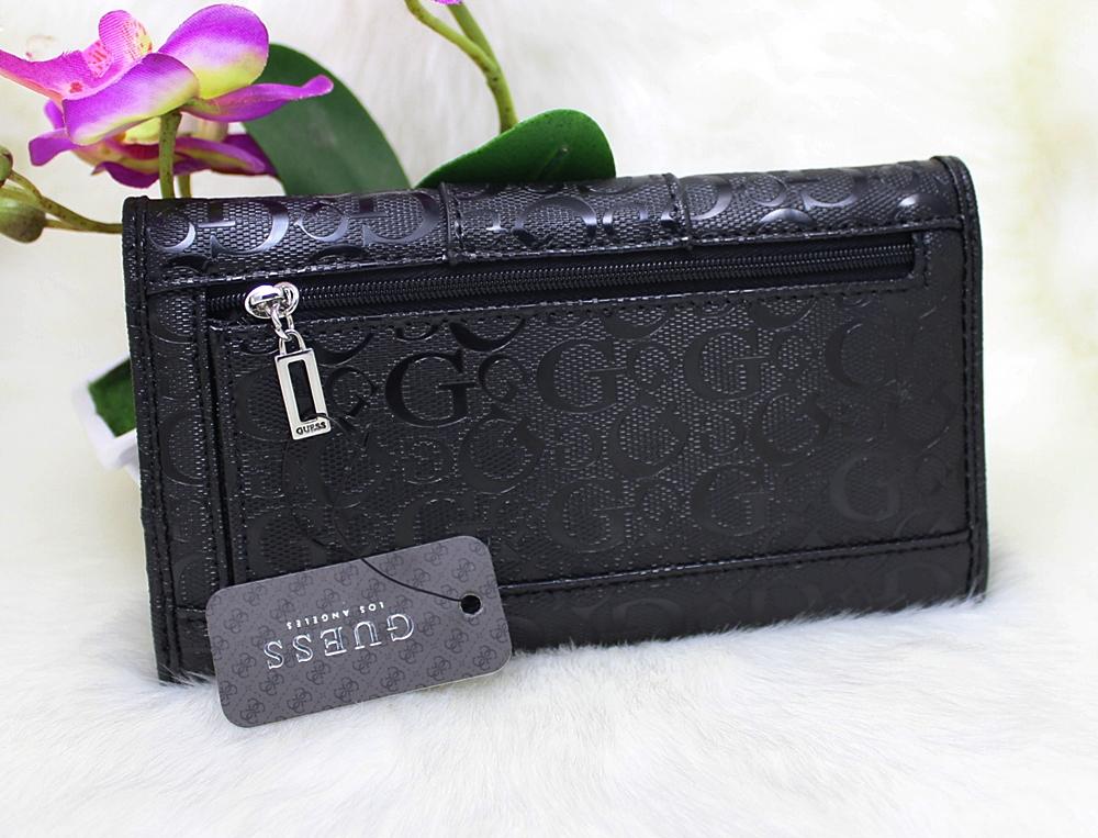 Guess Ware Patent Logo Slim Wallet Black