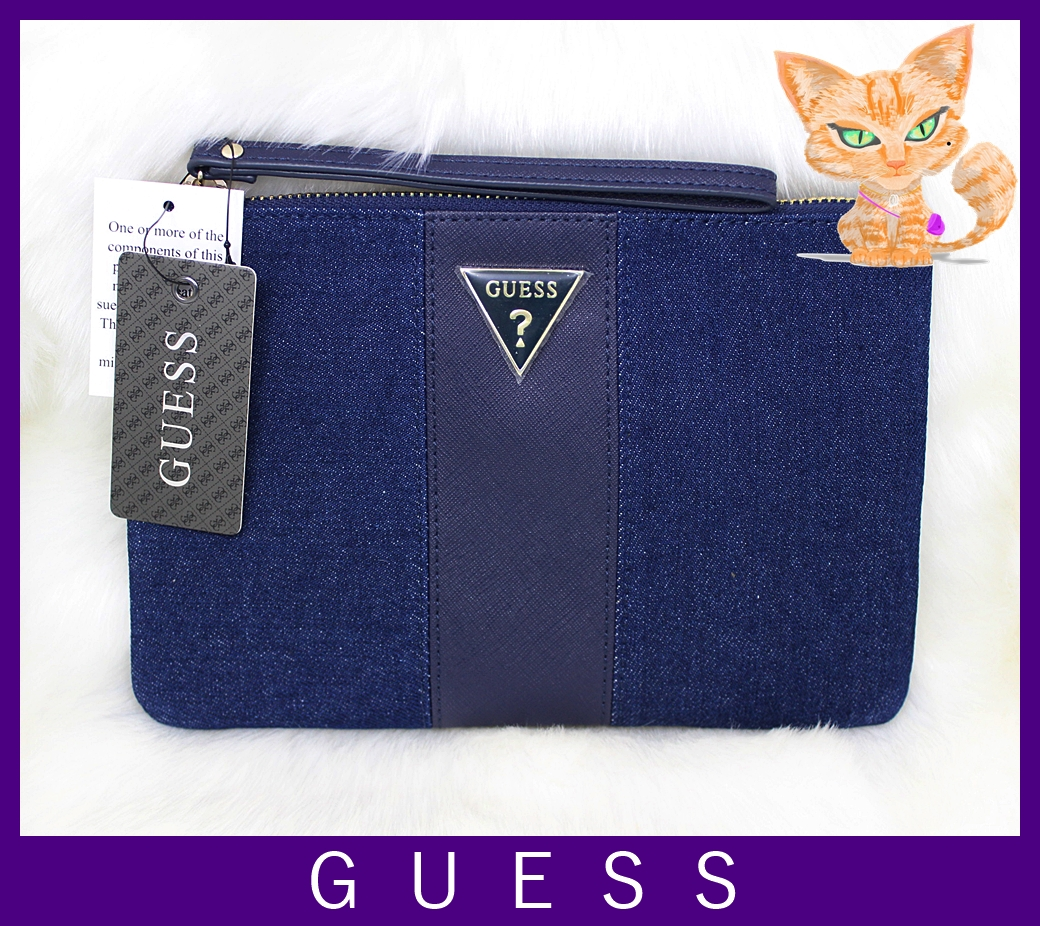 Guess Caterina Large Blue Denim Wristlet