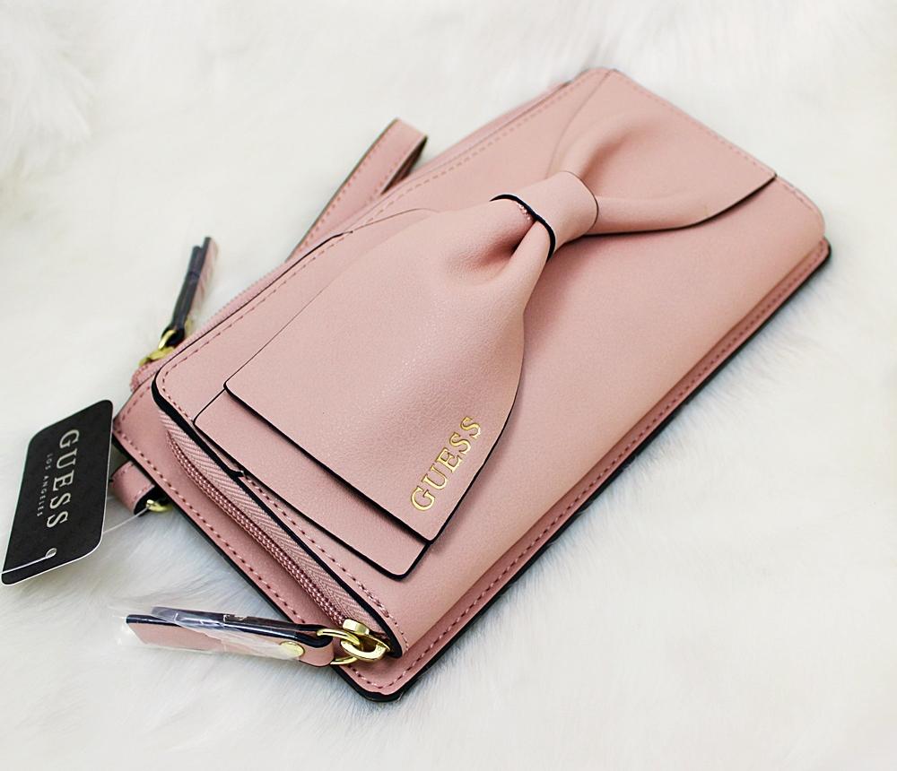 Guess Kendalle Bow Wristlet Pink Blush
