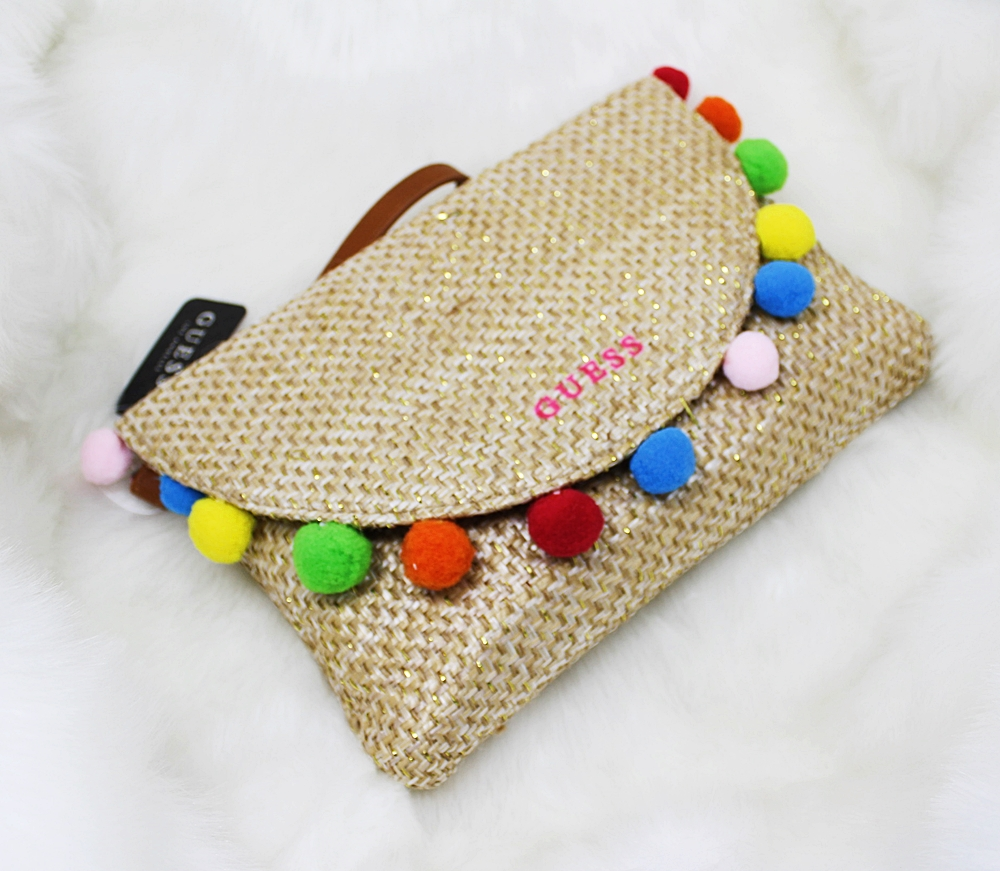 Guess Straw Pom Flap Tan Wristlet