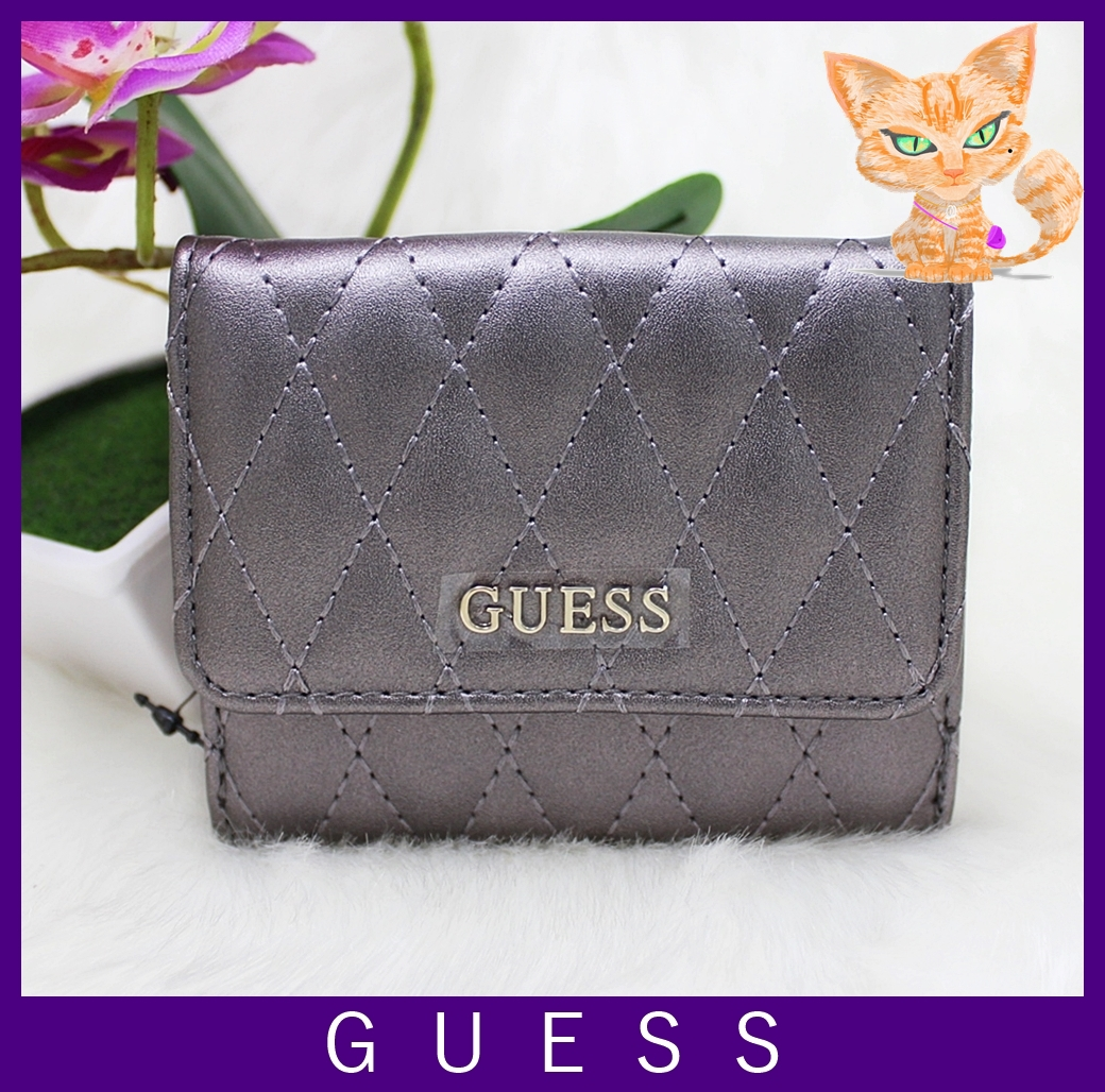 Guess Sibyl Quilt Medium Wallet Pewter
