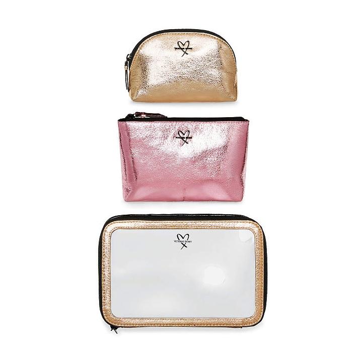 Victoria's Secret Metallic Crackle Trio Cosmetic Case Set