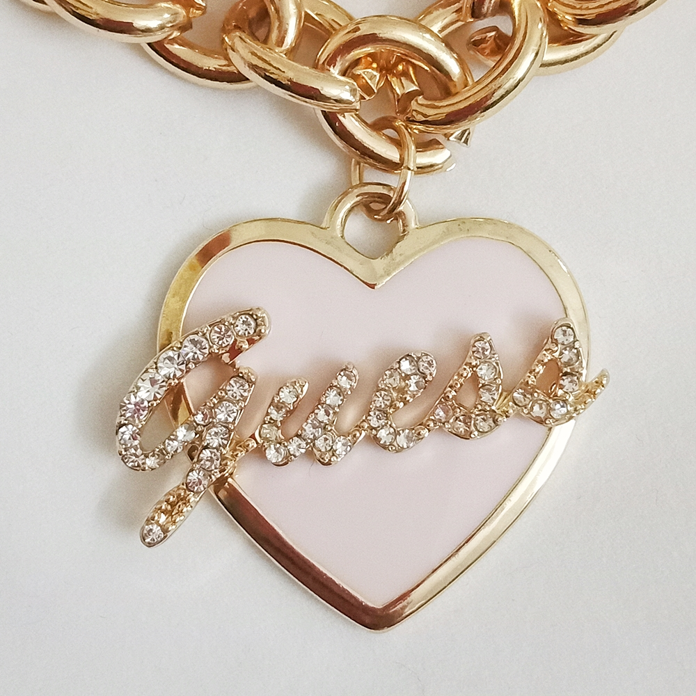 Guess Double Chain Pink Heart Gold Bracelet