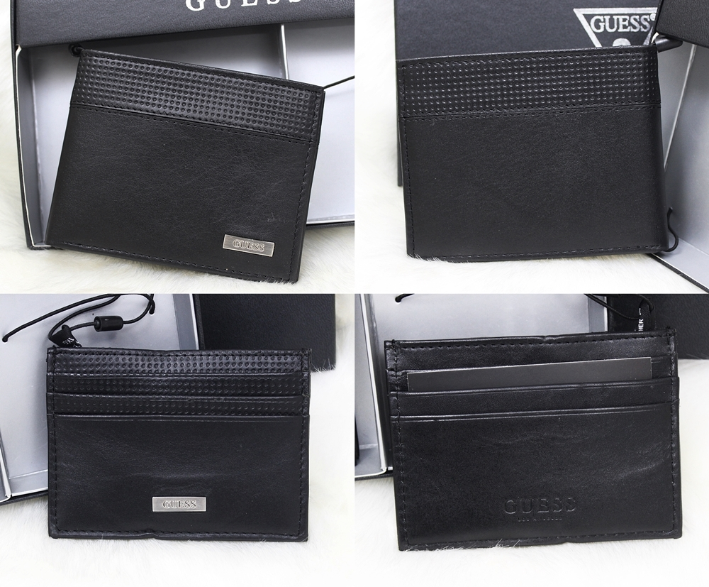 Guess Perforated Dot Black Wallet Set 2pc