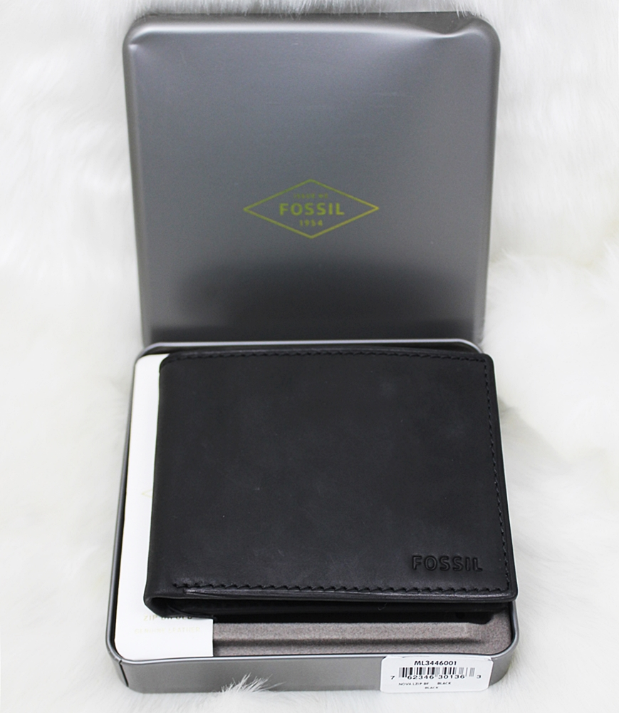 Fossil Nova Men L-Zip Coin Wallet Black