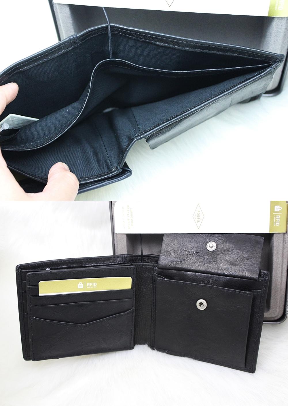 Fossil Ingram RFID Large Coin Men Wallet Black