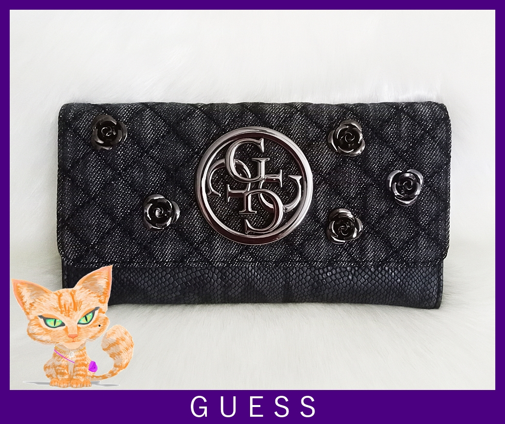 Guess G Lux Rose Quilted Women Black Denim Wallet