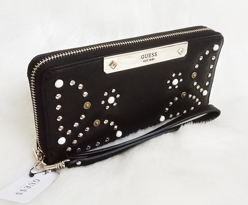 Guess Britta Studded Zip Around Wallet Black