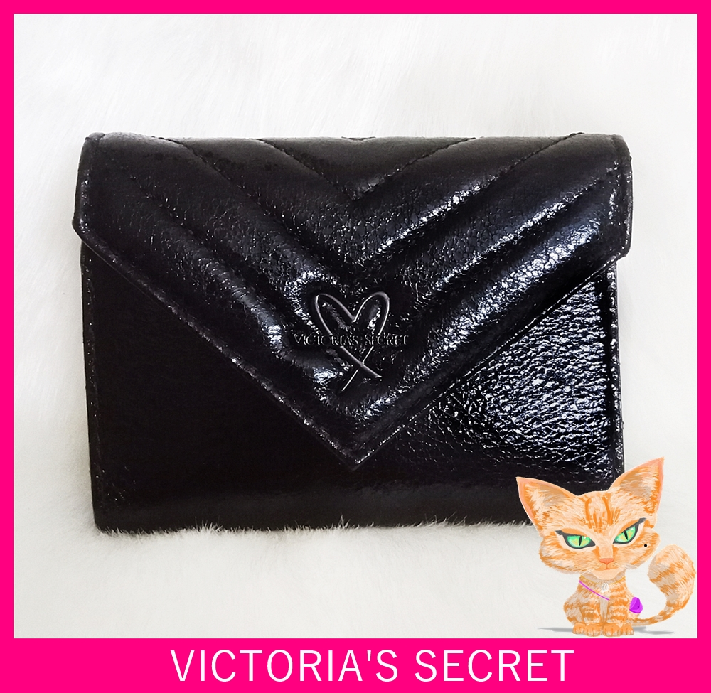 Victoria's Secret V-Quilt Metallic Crackle Medium Black Wallet