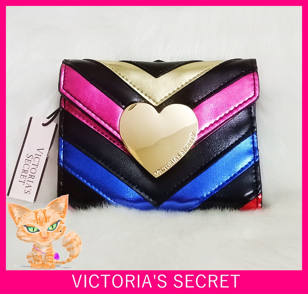 Victoria's Secret V-Quilt Rainbow Night Out Stripe Medium Wallet