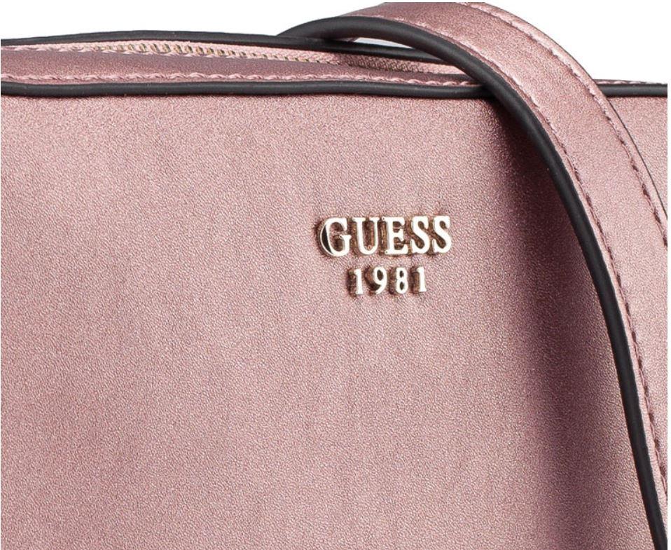 Guess Kamryn Top Zip Crossbody Bag Metallic Rose