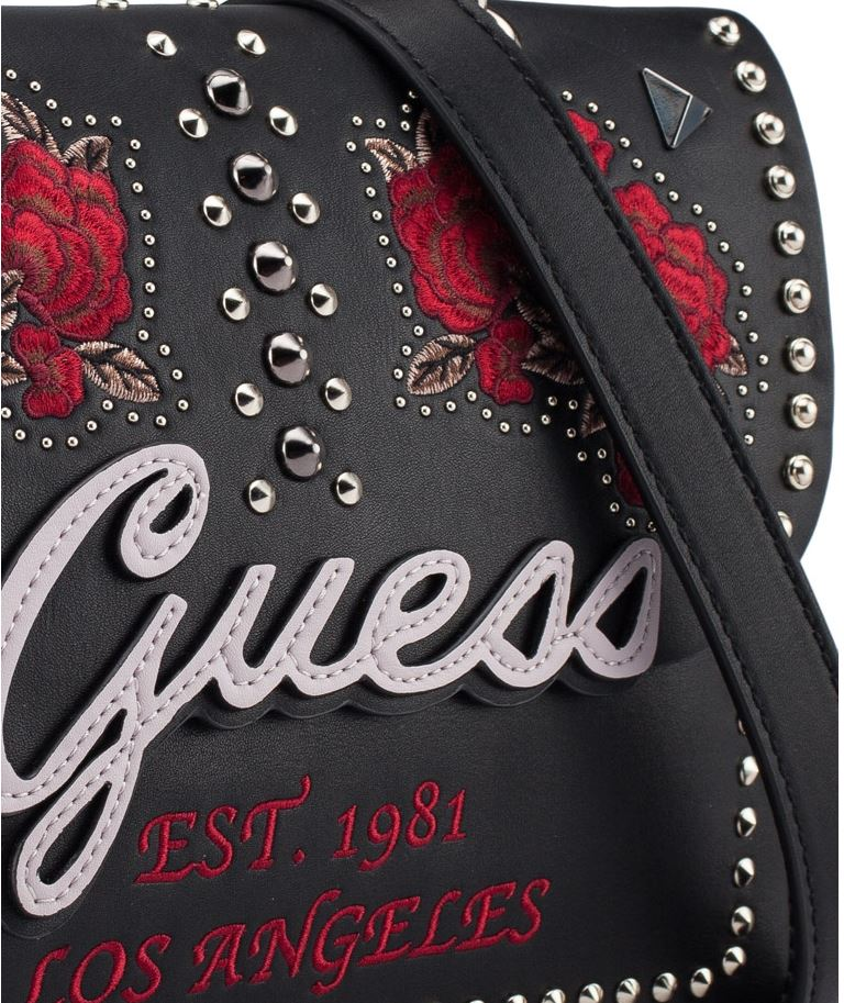 Guess In Love Top Handle Flap Hobo Handbag Black Multi