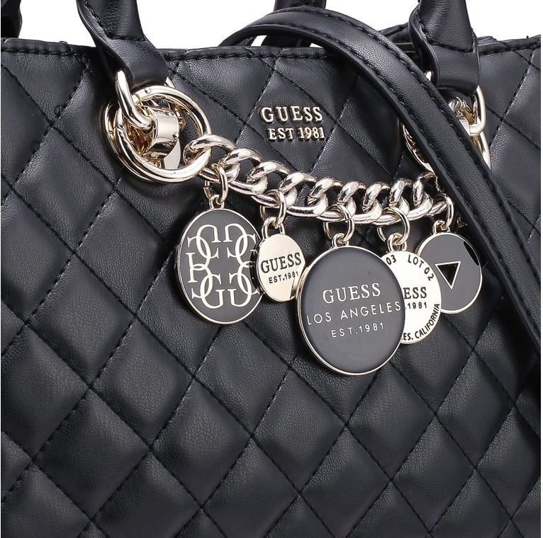 Guess Victoria Girlfriend Small Satchel Handbag Black